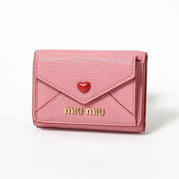 MIUMIU ミュウミュウ 5MH021 2BC3 F0028 MADRAS LOVE レザー 三つ折り財布 ミニ財布 豆財布 ROSA レディース