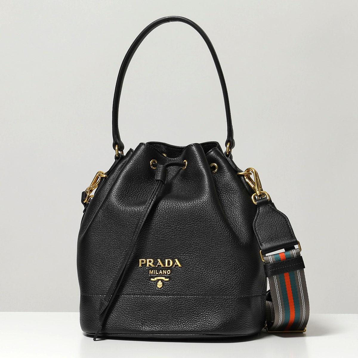 PRADA プラダ 1BE018 2BBE F0002 NOM レザー 3wayストラップ 巾着バッグ ショルダーバッグ ハンドバッグ NERO 鞄 レディース