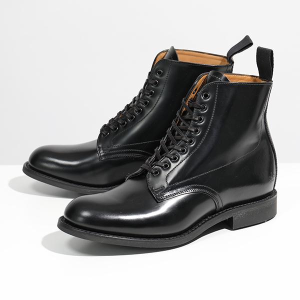 Sanders サンダース 1615B Military Derby Boot Polishing Leather レザー ショートブーツ プレーントゥ Black 靴 レディース【訳有】