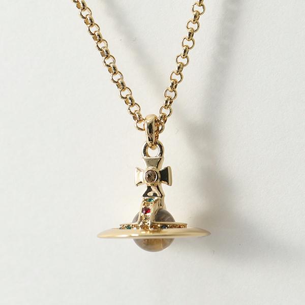 VivienneWestwood ヴィヴィアンウエストウッド 63020098-R001 クリスタルストーン装飾 立体オーブ ペンダント ネックレス GOLD レディース