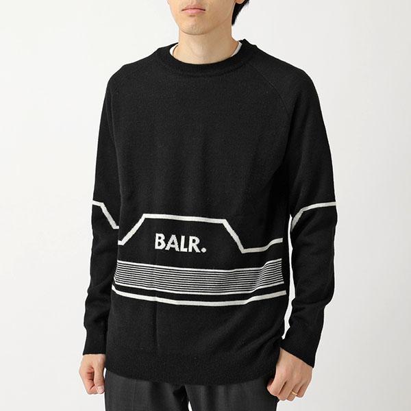 BALR. ボーラー Stripped Knitted Hexagon Crew Neck Sweater ロゴ ストライプ クルーネック ニット Black メンズ