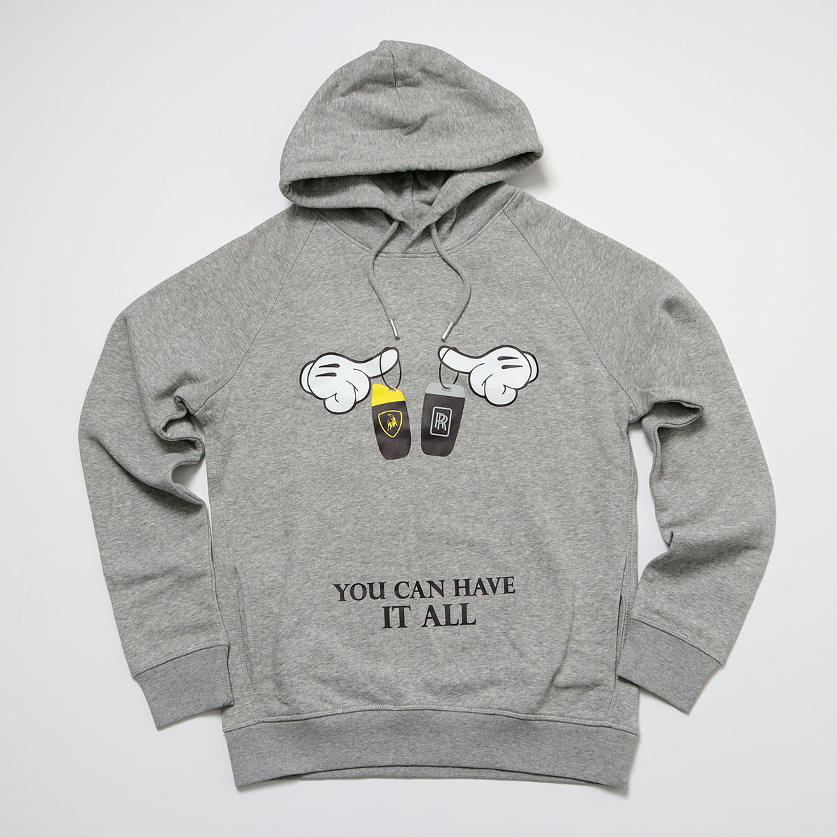Trendy&Rare トレンディ&レア YOU CAN HAVE IT ALL HOODIE 長袖 プルオーバー スウェットパーカー プリント H-GREY メンズ