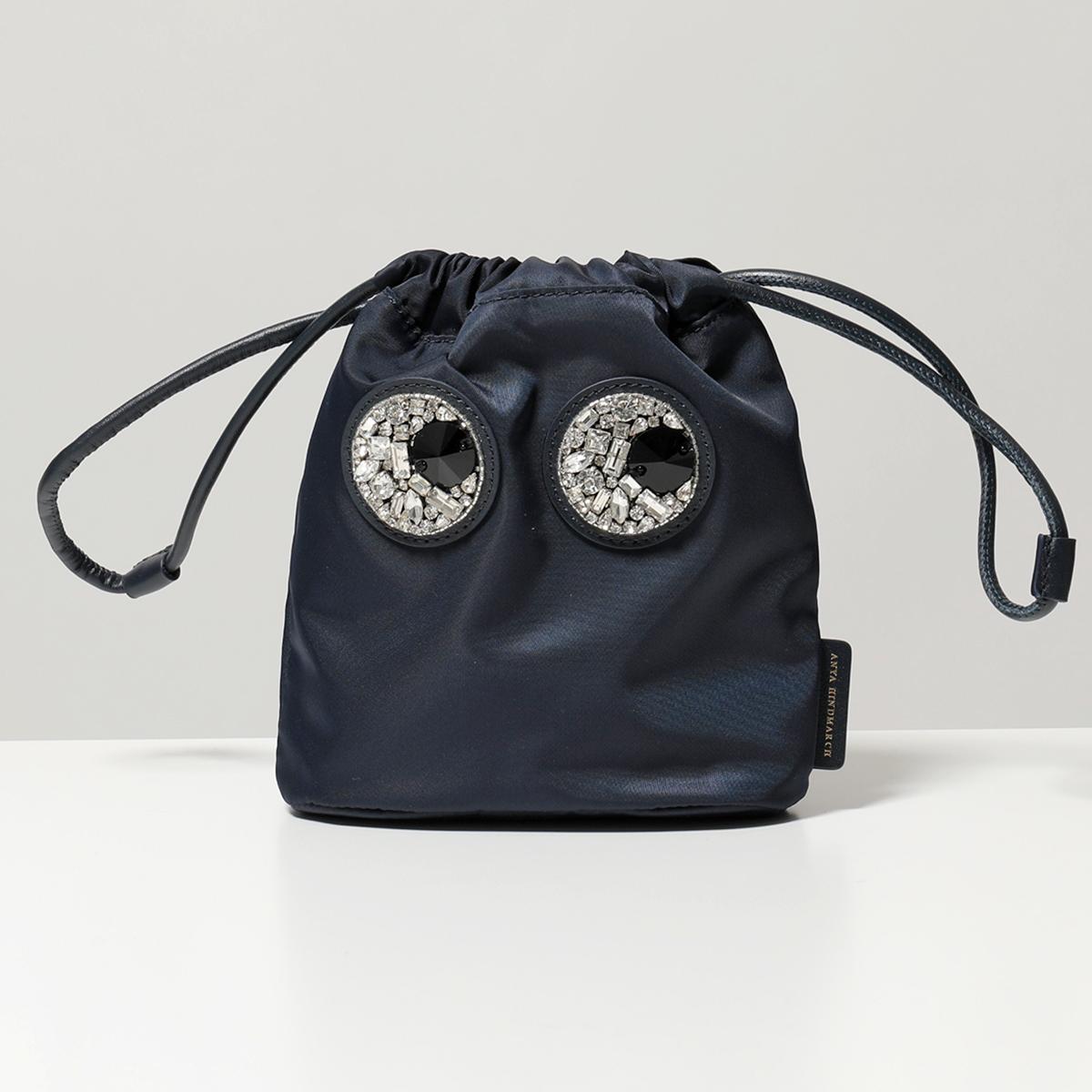 【2019年秋冬新作】 ANYA HINDMARCH アニヤハインドマーチ 139427 クリスタルビジュー装飾 ナイロン ポーチバッグ 巾着バッグ MARINE 鞄 レディース