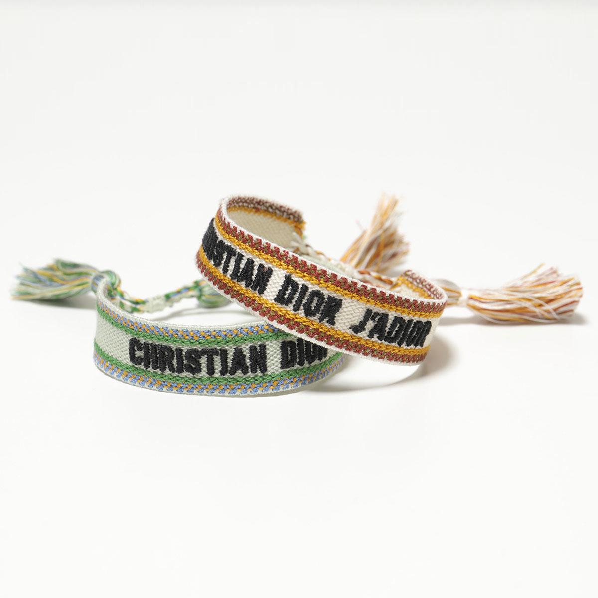 【1,000円OFFクーポン対象!4月1日限定】Dior ディオール B0961 ADRCO 696U ADR Textile J'Adior Bracelet ブレスレット ミサンガ 2点セット 696/Green-Nude レディース