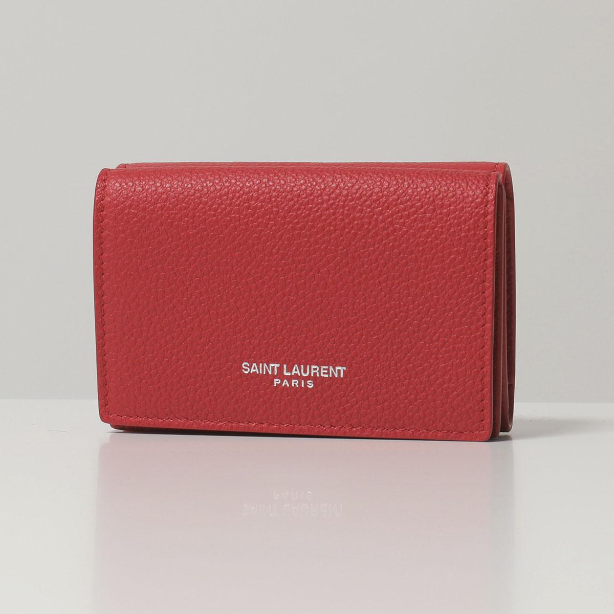 SAINT LAURENT サンローランパリ 459784 B680N 6805 レザー 三つ折り財布 ミニ財布 豆財布 レディース