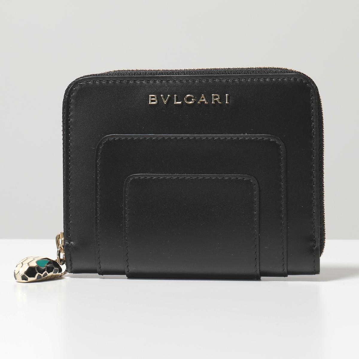 BVLGARI ブルガリ 280375 Serpenti Forever Accessories レザー ラウンドファスナーミニ財布 ジップチャーム black/emerald-green レディース