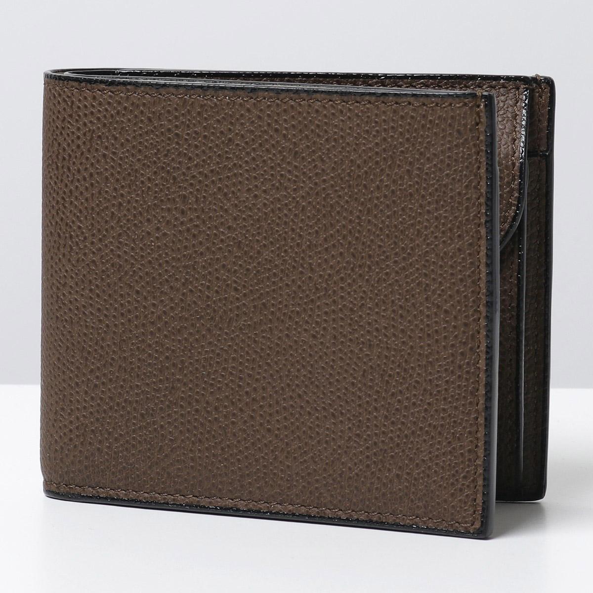 グッドプライス Valextra ヴァレクストラ V8L23 028 レザー 二つ折り財布 人気の定番 小銭入れ付き 税込 メンズ MNO ダークブラウン
