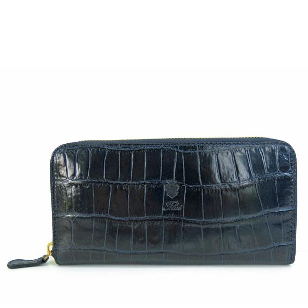 カラー5/BLUE クロコ型押し 125-SA サイズ/ ラウンドファスナー長財布 フェリージ felisi ネイビー
