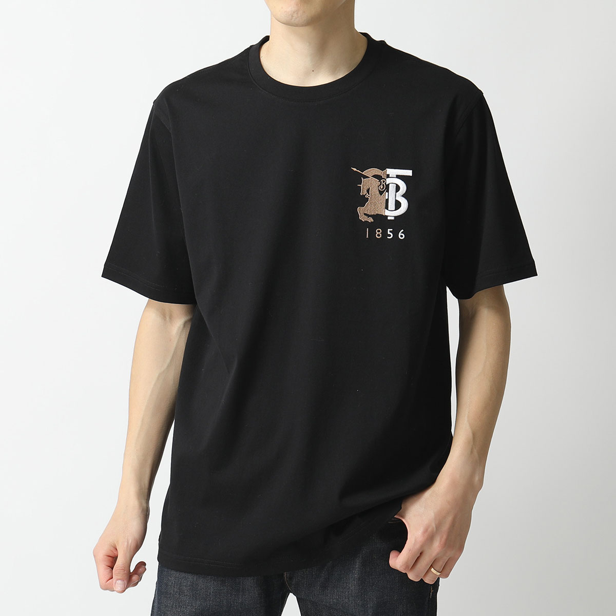 BURBERRY バーバリー 8023785 1003 クルーネック 半袖 Tシャツ カットソー ロゴ 刺繍 BLACK メンズ