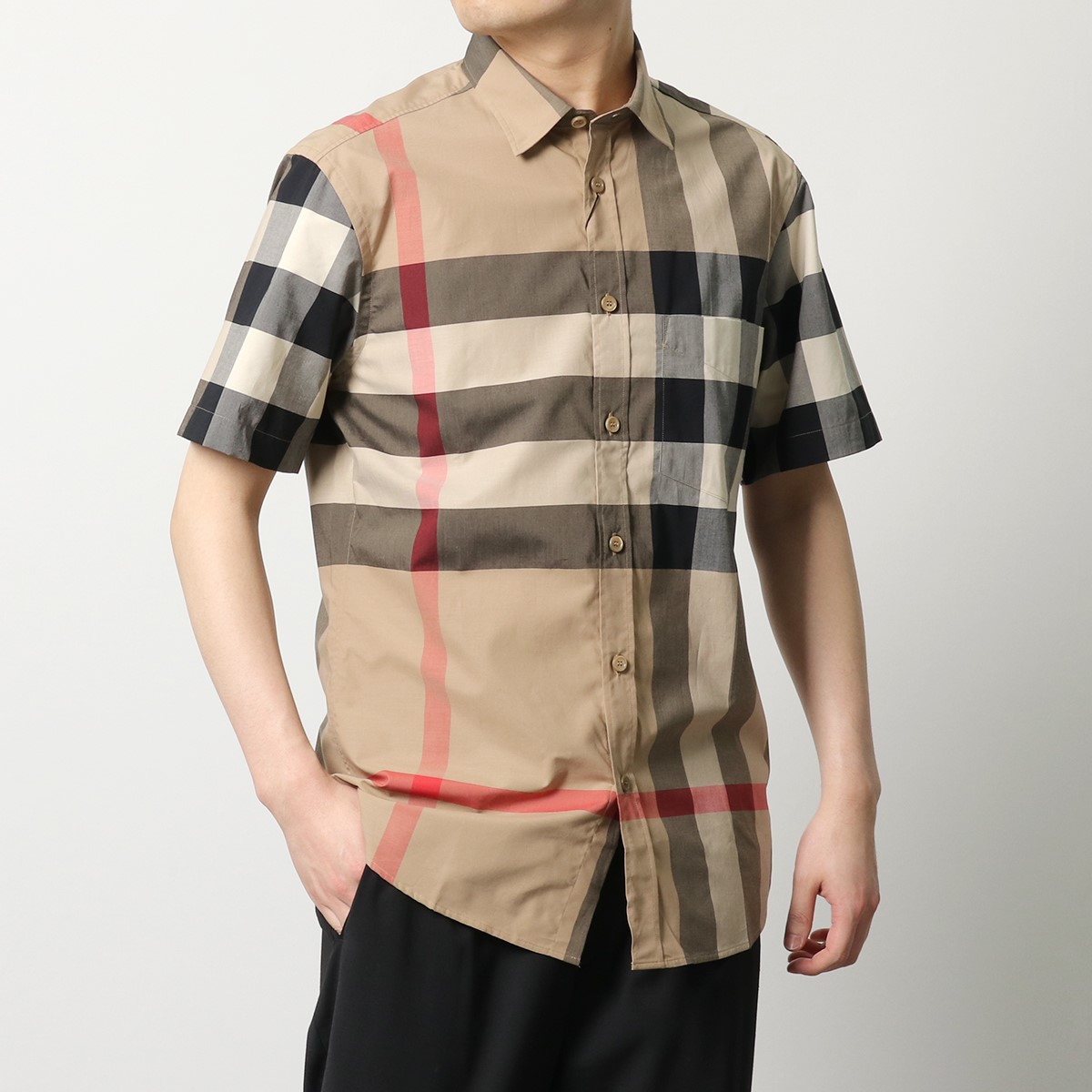 BURBERRY バーバリー 8017322 1005 半袖 ワイシャツ カッターシャツ Yシャツ バーバリーチェック レギュラー ARCHIVE-BEIGE-IP-CHK メンズ