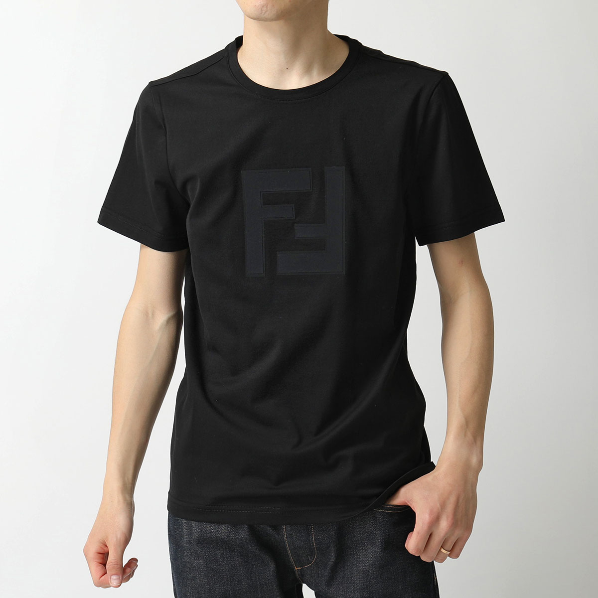 FENDI フェンディ FAF532 A54P F0GME/BLACK クルーネック 半袖 Tシャツ カットソー FF異素材ロゴ メンズ