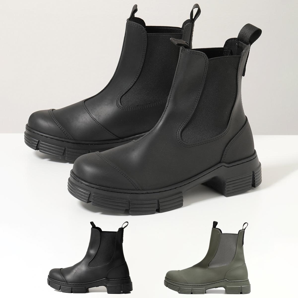 2021年秋冬新作 GANNI ガニー S1526 4628 本物 チェルシーブーツ ショートブーツ Black レディース ラバー 靴 サイドゴア 無料 099