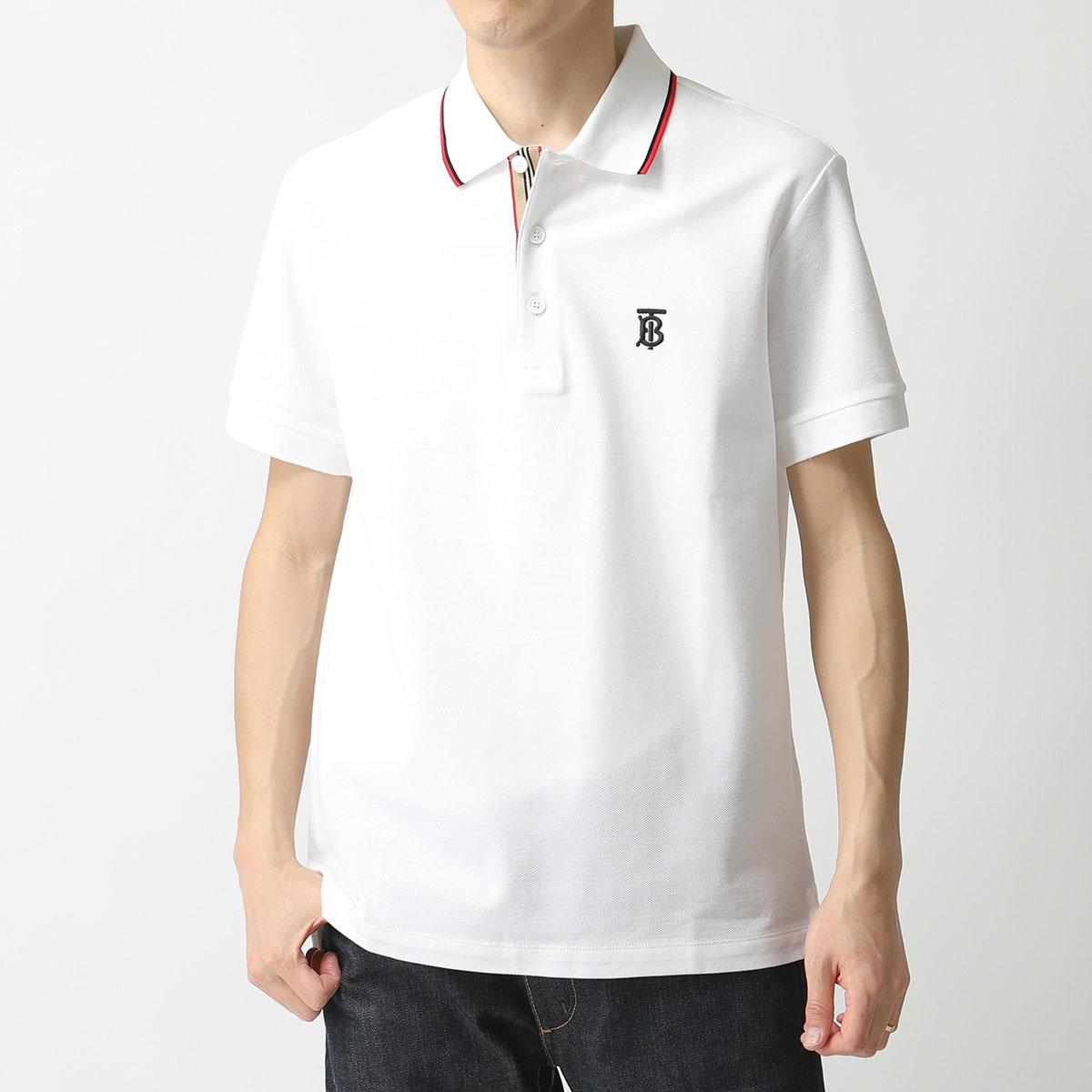 BURBERRY バーバリー 8017004 鹿の子 半袖 ポロシャツ TB刺繍 WHITE メンズ