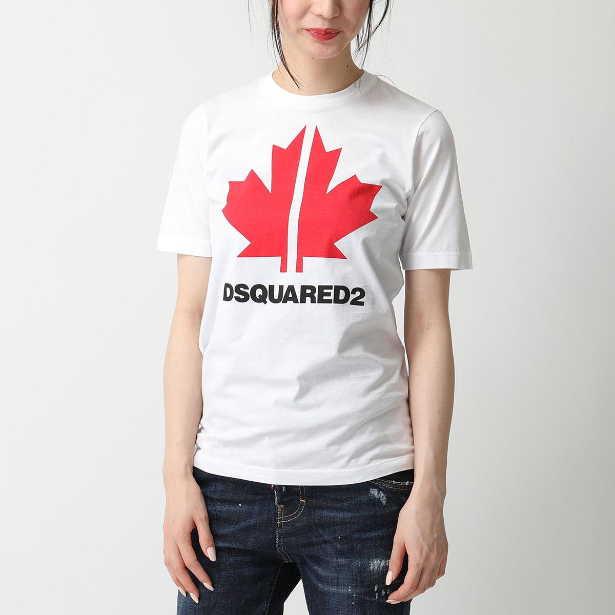 DSQUARED2 ディースクエアード S75GD0095 S22427 100 クルーネック 半袖 Tシャツ カットソー エンブレム×ロゴプリント レディース