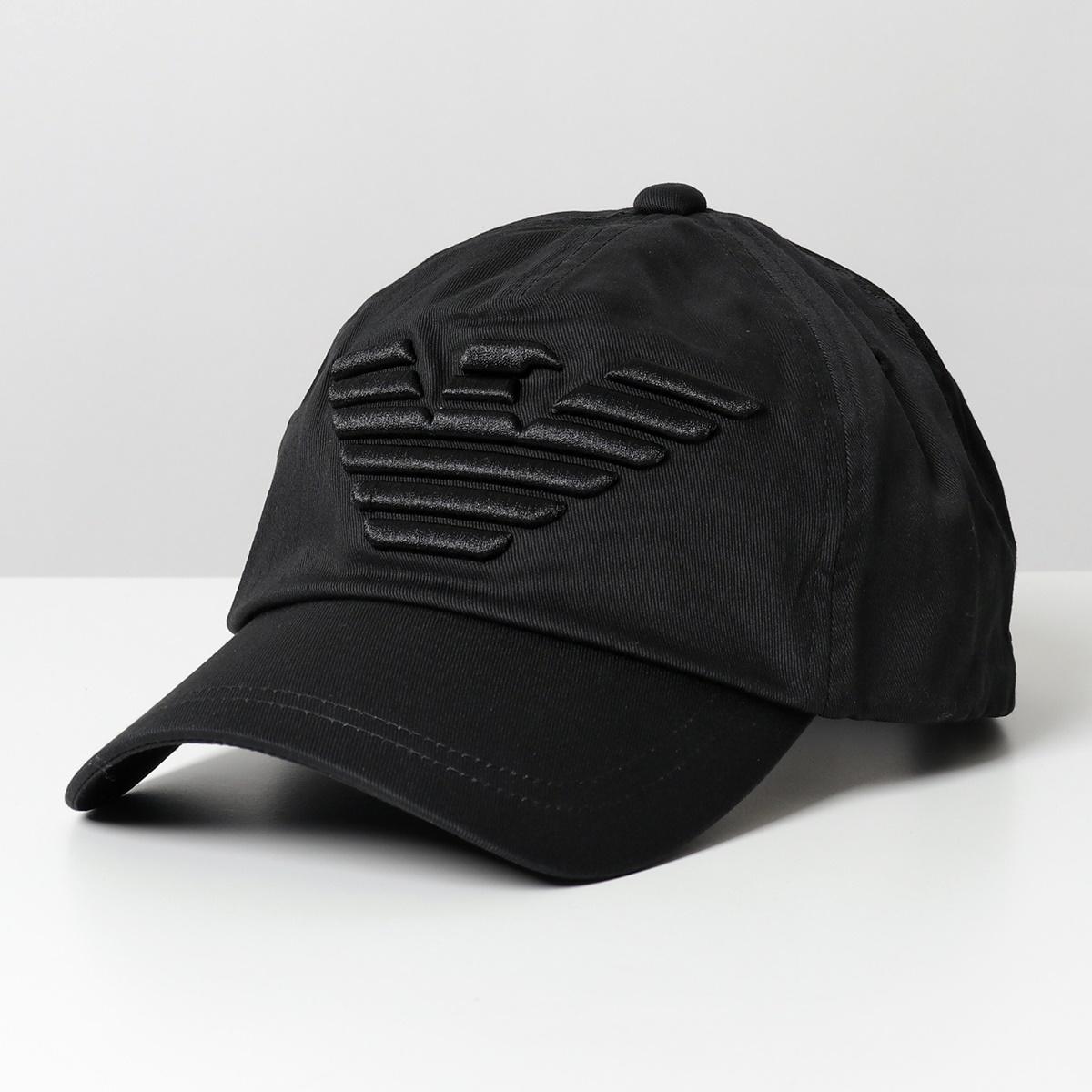 EMPORIO ARMANI エンポリオアルマーニ 国内即発送 627522 CC995 00020 BLACK コットン 帽子 通常便なら送料無料 イーグル立体刺繍 メンズ ベースボールキャップ