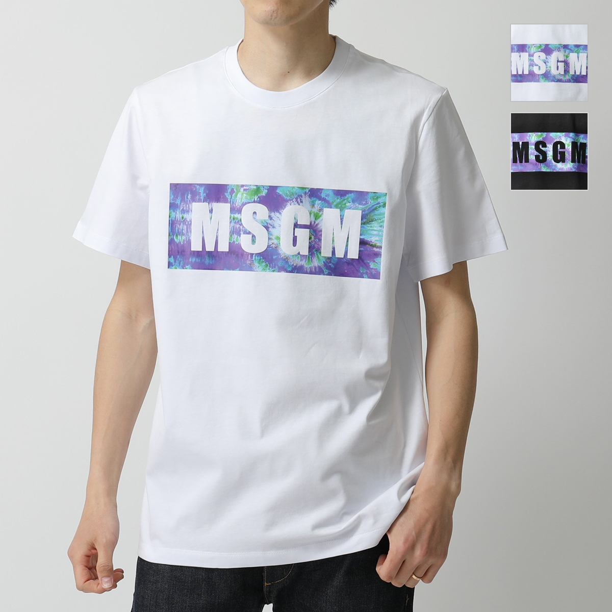 MSGM エムエスジーエム 2840 MM234 半袖 Tシャツ カットソー クルーネック ボックスロゴ カラー2色 メンズ