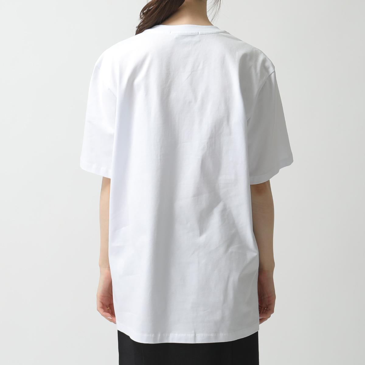 MSGM エムエスジーエム 2841 MDM98 半袖 Tシャツ カットソー クルーネック 丸首 ロゴ刺繍 01 ホワイト レディースBerCdxWo
