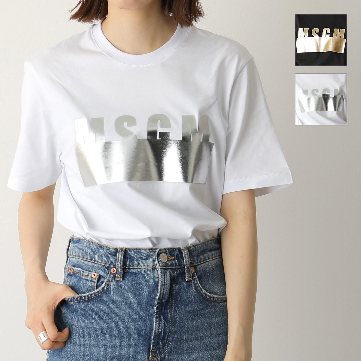 MSGM エムエスジーエム 2641 2841 MDM180 カラー2色 半袖 Tシャツ カットソー クルーネック メタリックプリント ロゴ 丸首 レディース