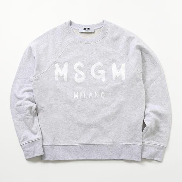 MSGM エムエスジーエム 2841 MDM89 長袖 スウェット スエット トレーナー ロゴ ライト生地 94/ライトグレー レディース