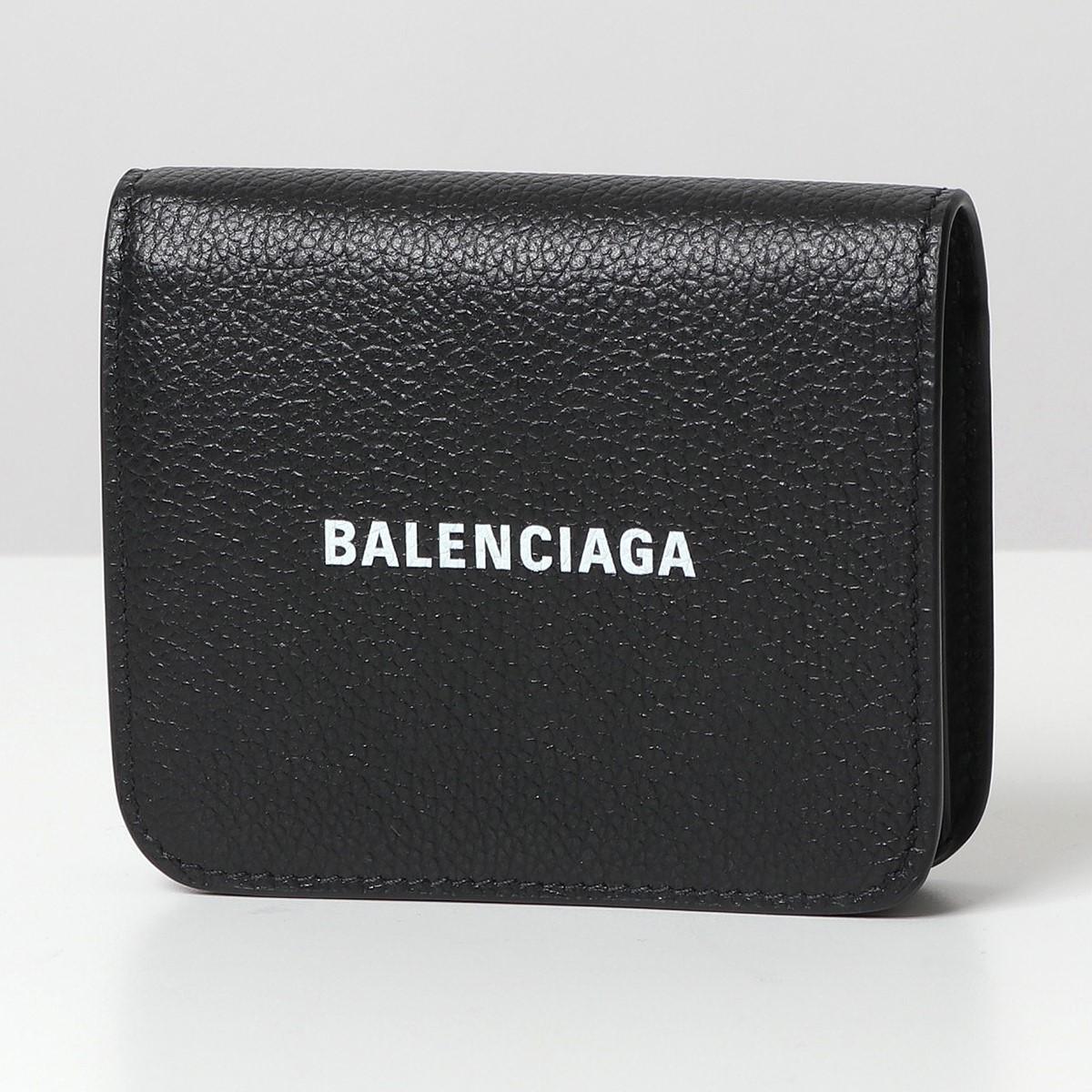 BALENCIAGA バレンシアガ 594216 1IZ4M レザー 二つ折り財布 ミニ財布 豆財布 1090/BLACK-L-WHITE レディース