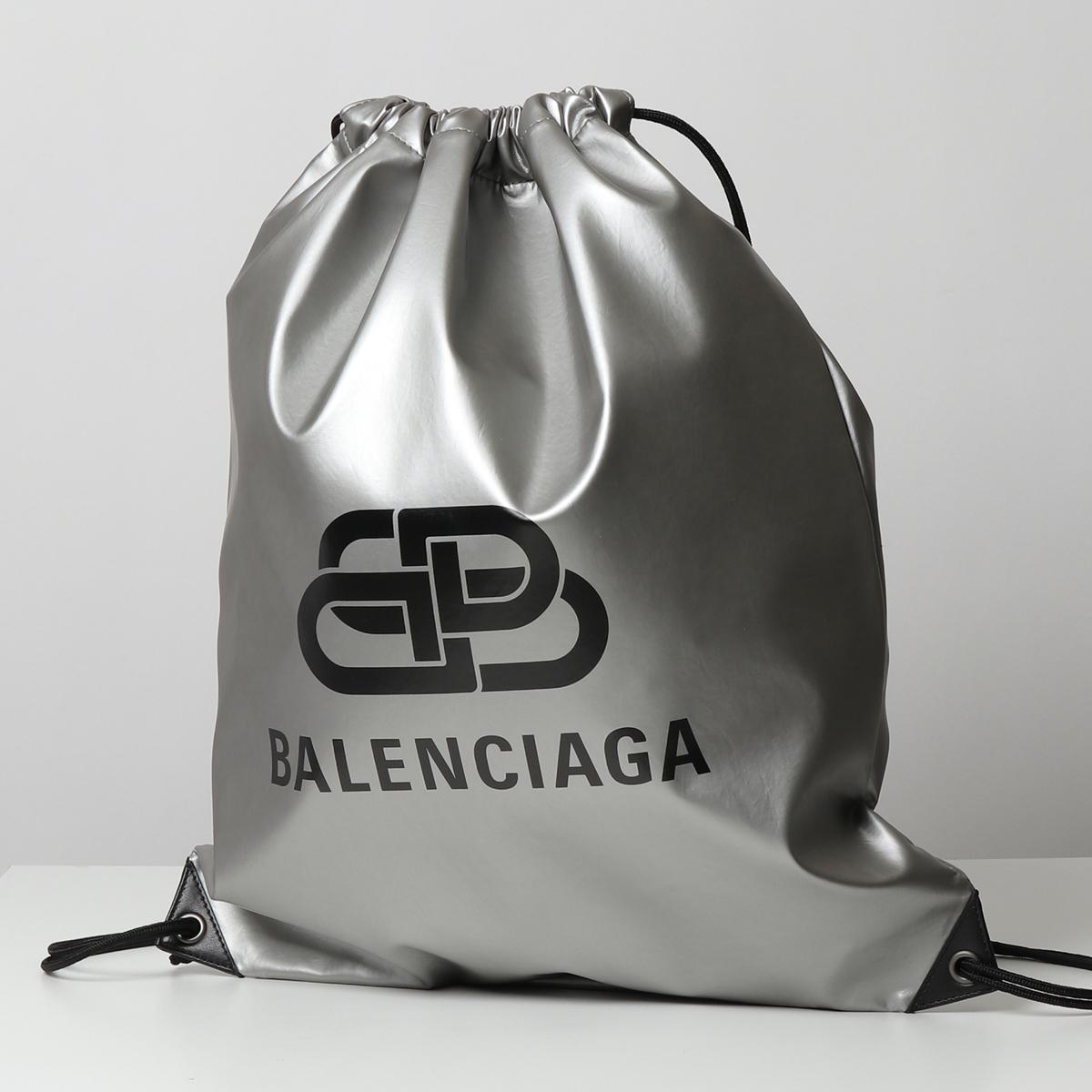 BALENCIAGA バレンシアガ 593648 HR515 BB ロゴプリント バックパック リュック ナップサック 鞄 8110/SILVER メンズ