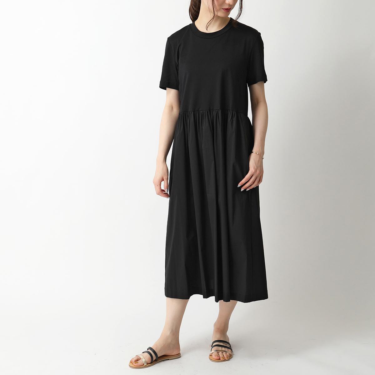 Liviana Conti リビアナコンティ L0SH46 切り替え 半袖 Tシャツ コットン ポプリン シャツ ワンピース Y69-0/ブラック レディース