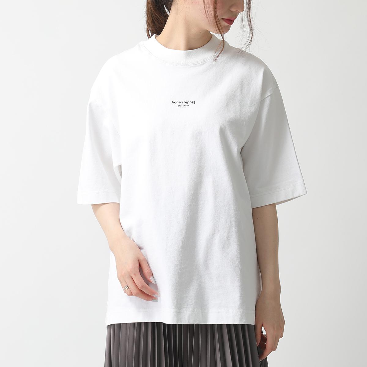 Acne Studios アクネストゥディオズ FN NM TSHI000138 EXTORR リバースロゴ 半袖 Tシャツ クルーネック コットン Optic-White レディース