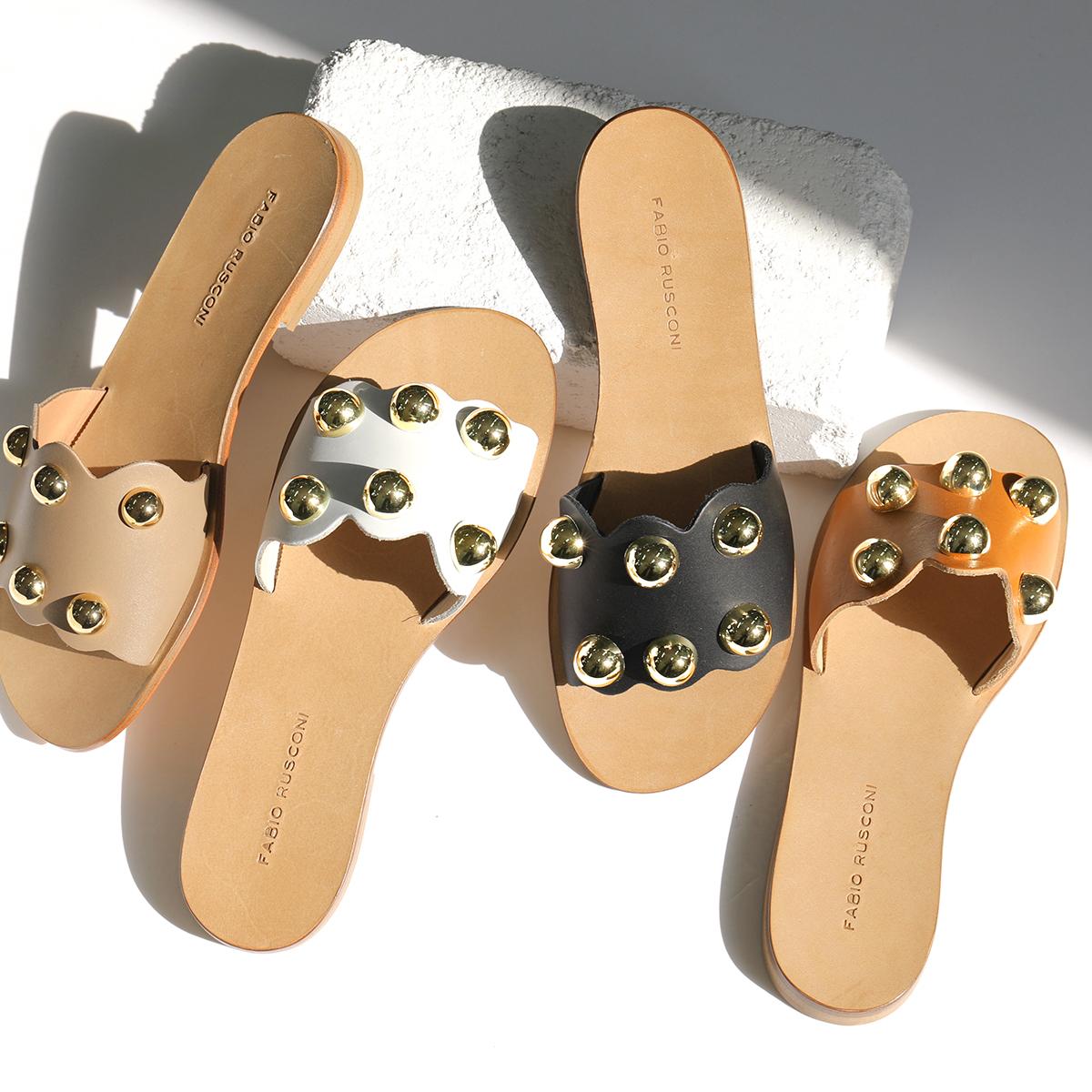 グッドプライス 2021年春夏新作 大きいサイズ有 FABIO RUSCONI ファビオルスコーニ DG10 VACC カラー3色 レザー ローヒール ミュール フラットシューズ レディース 丸スタッズ装飾 一部予約 サンダル 税込 靴