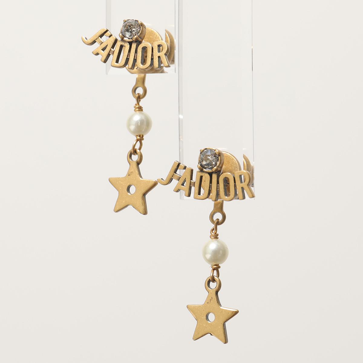 Dior ディオール E1209 ADRCY J'Adior & star クリスタル装飾 ロゴ 星 スター パール スタッドピアス 908/AntGold-Wh レディース