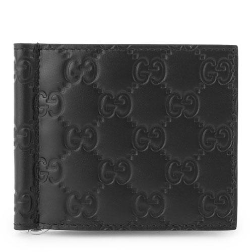 GUCCI グッチ 170580 CWC1N メタルマネークリップ付 二つ折り財布 グッチシマ レザー 小銭入れなし カラー1000/ブラック メンズ