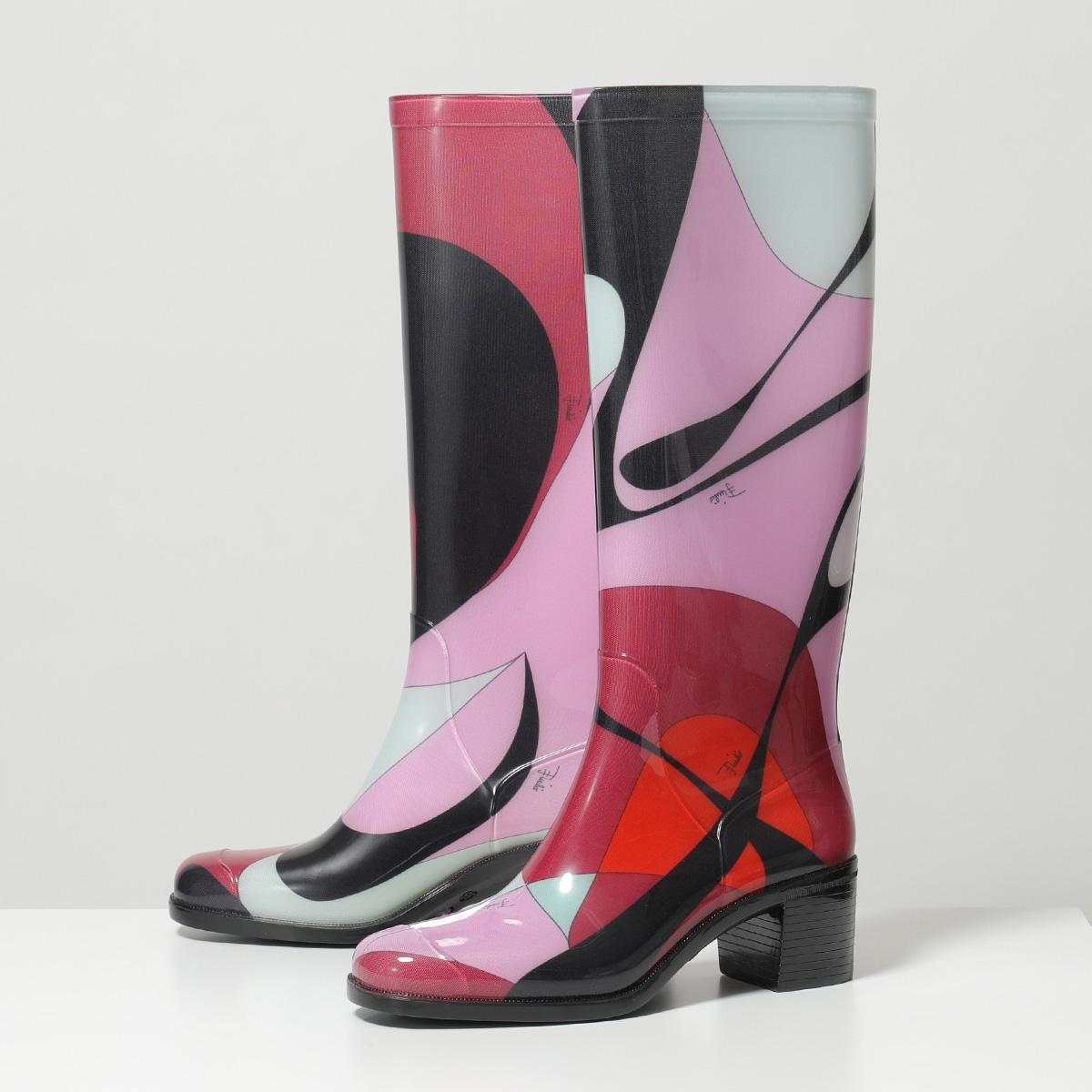 【有名人芸能人】 【訳有】EMILIO PUCCI エミリオプッチ 9UCE45 9UX18 Alex Print Rubber Boots ラバー レインブーツ ロングブーツ A99 靴 レディース, 大畠町 3429c9d1