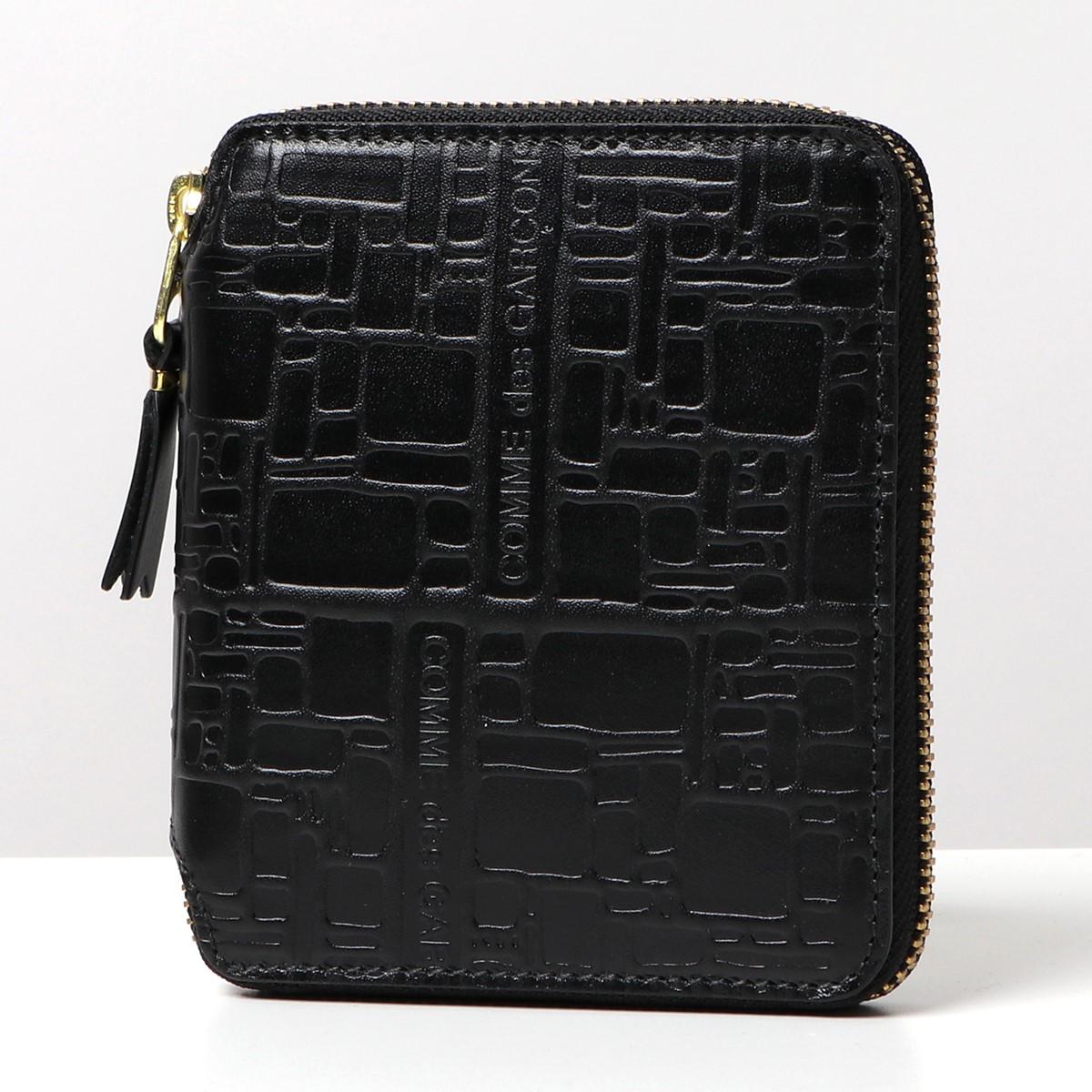 COMME des GARCONS コムデギャルソン SA2100EL EMBOSSED LOGOTYPE レザー ラウンドファスナー 二つ折り ミディアム財布 ミニ財布 豆財布 カラーBLACK/ブラック