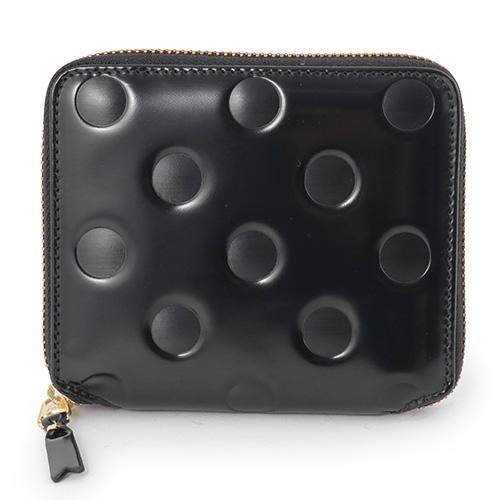 COMME des GARCONS コムデギャルソン SA2100NE POLKE DOTS EMBOSSED レザー ラウンドファスナー 二つ折り ミディアム財布 ミニ財布 豆財布 ドット 水玉 カラーBLACK-POLKA/ブラック