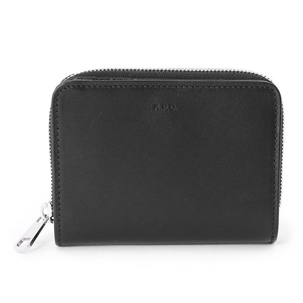 APC A.P.C. アーペーセー PXAQG H63087 LZZ portefeullle compact レザー ラウンドジップ 二つ折り ミディアム財布 ミニ財布 カラーNOIR レディース