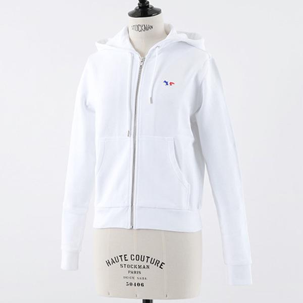 MAISON KITSUNE メゾンキツネ AW00304AT1503 長袖 スウェット ジップアップ パーカー 刺繍 WHITE レディース