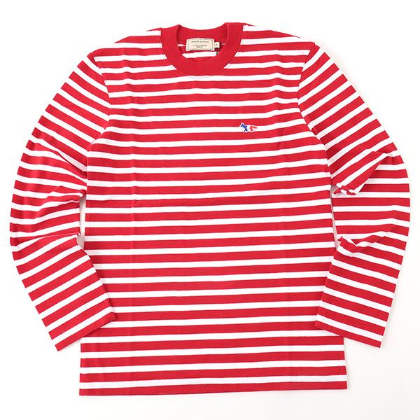 MAISON KITSUNE メゾンキツネ 03949 AU00105AT1600 ボーダー 長袖Tシャツ カットソー 刺繍 クルーネック 丸首 カラーRED-WHITE メンズ