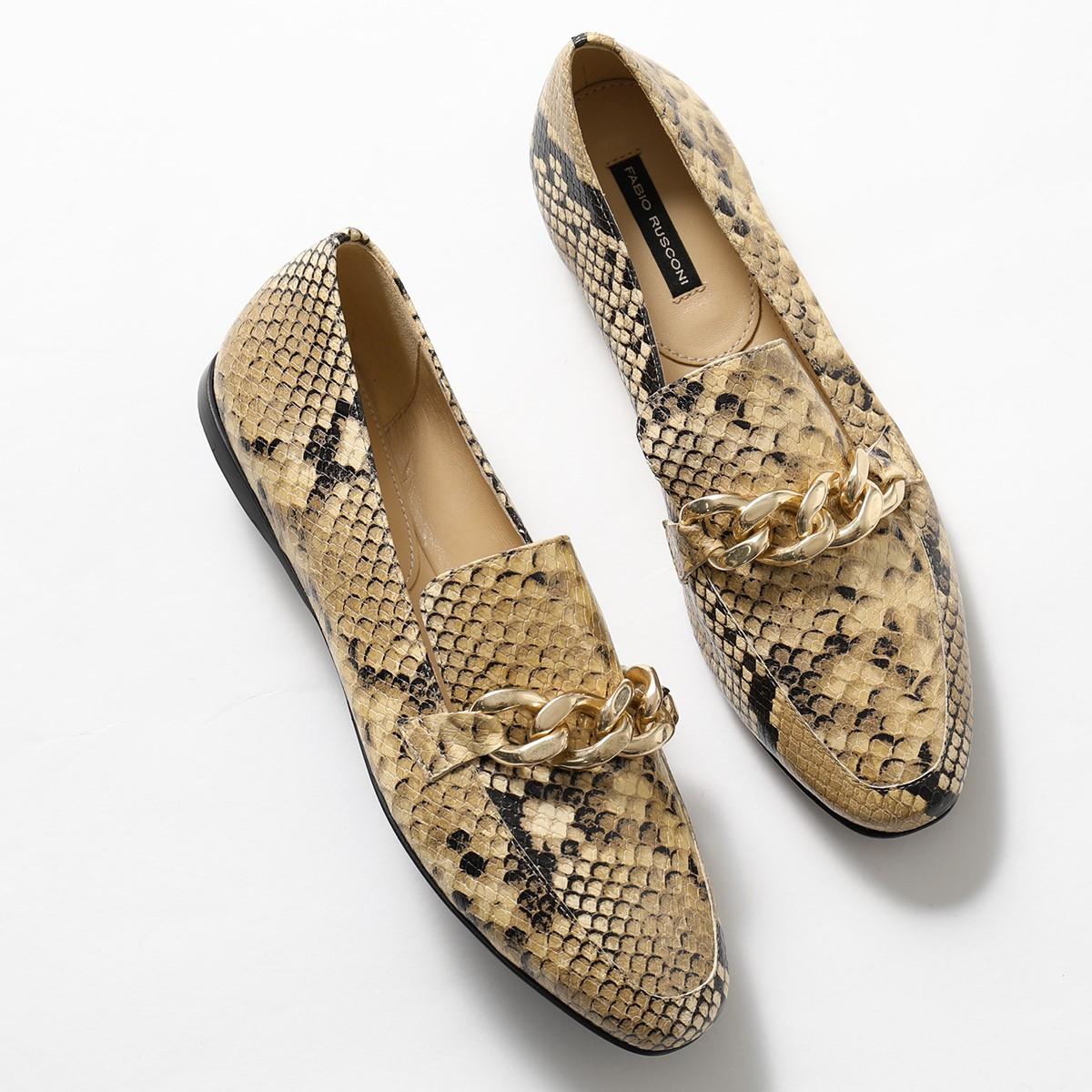 グッドプライス 大きいサイズ有 2020年秋冬新作 FABIO RUSCONI ファビオルスコーニ F 5280 レザー SABBIA-A113 毎日がバーゲンセール レディース 靴 パイソン パンプス ローファー PITONE 本物