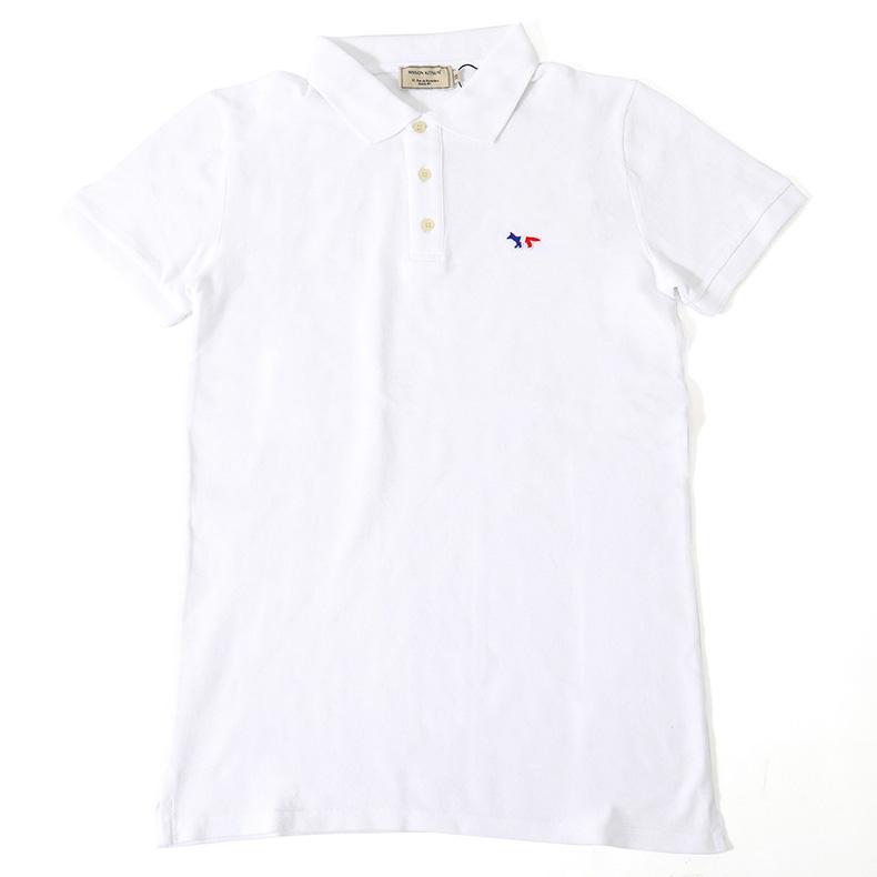 MAISON KITSUNE メゾンキツネ 04319 AM00200KJ 7002 半袖 ポロシャツ アイコン刺繍 トリコロール カラーWHITE メンズ