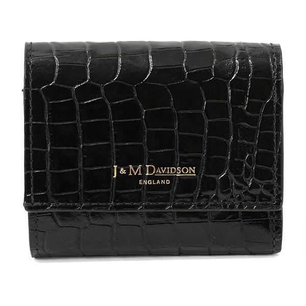 J&M DAVIDSON ジェイアンドエムデヴィッドソン 10149 7444 9990 TOW FOLD WALLET レザー 三つ折り財布 ミニ財布 豆財布 カラーBLACK/BLACK レディース