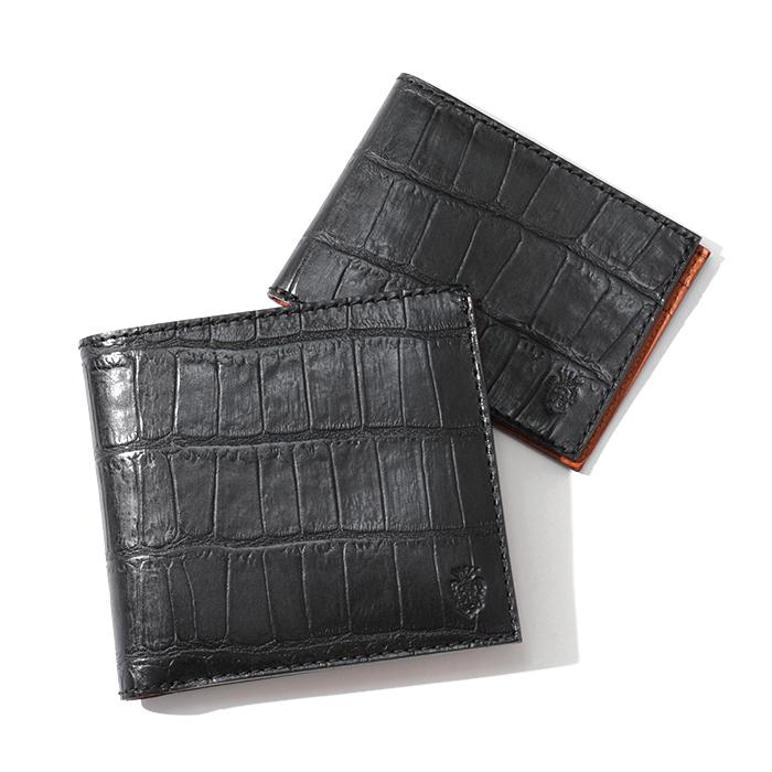 Felisi フェリージ 452 SA クロコダイル 型押し カードケース付き 二つ折り財布 0003/BLACK メンズ