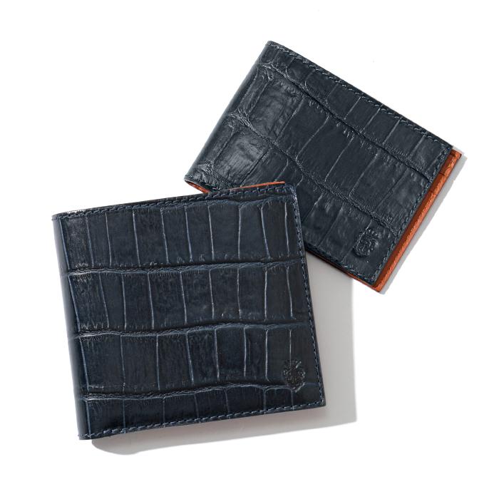 Felisi フェリージ 452 SA クロコダイル 型押し カードケース付き 二つ折り財布 0005/BLUE メンズ