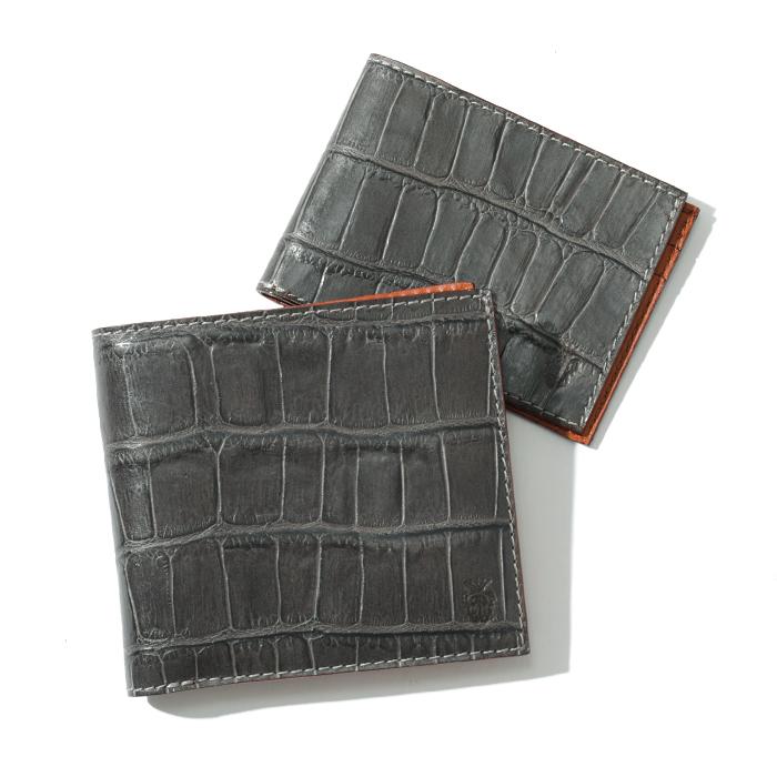 Felisi フェリージ 452 SA クロコダイル 型押し カードケース付き 二つ折り財布 0028/D.GREY メンズ