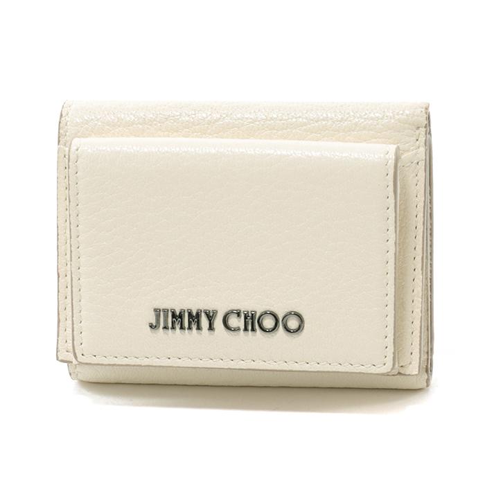 Jimmy Choo ジミーチュウ NAIMA GRZ レザー 三つ折り財布 ミニ財布 CHALK レディース
