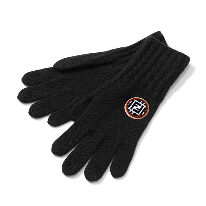 FENDI フェンディ FXY554 A2NX ニット グローブ 手袋 F0QA1/ブラック レディース
