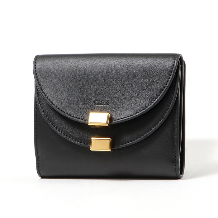 Chloe クロエ CHC16AP285H1Z レザー Wフラップ 二つ折り財布 ミディアム スモール財布 001/BLACK レディース