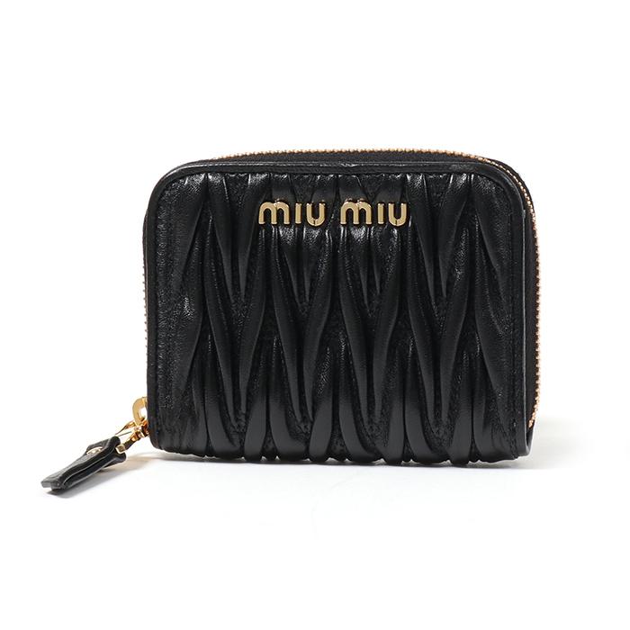 MIUMIU ミュウミュウ 5MM268 N88 F0002 MATELASSE マテラッセ キルティングレザー ラウンドジップ 財布 NERO/ブラック レディース