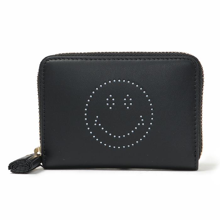 ANYA HINDMARCH アニヤハインドマーチ 947916 5050925947916 Small Zip Round Wallet Smiley ミニ財布 コインケース BlackCircus