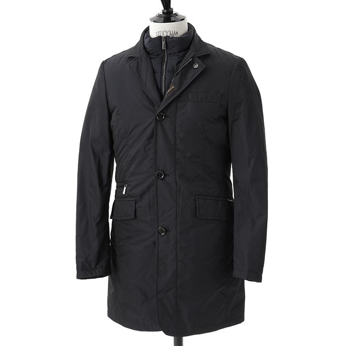 MOORER ムーレー SHINJUKU KM シングル チェスターコート 中綿ベスト付き ジャケット BLU メンズ
