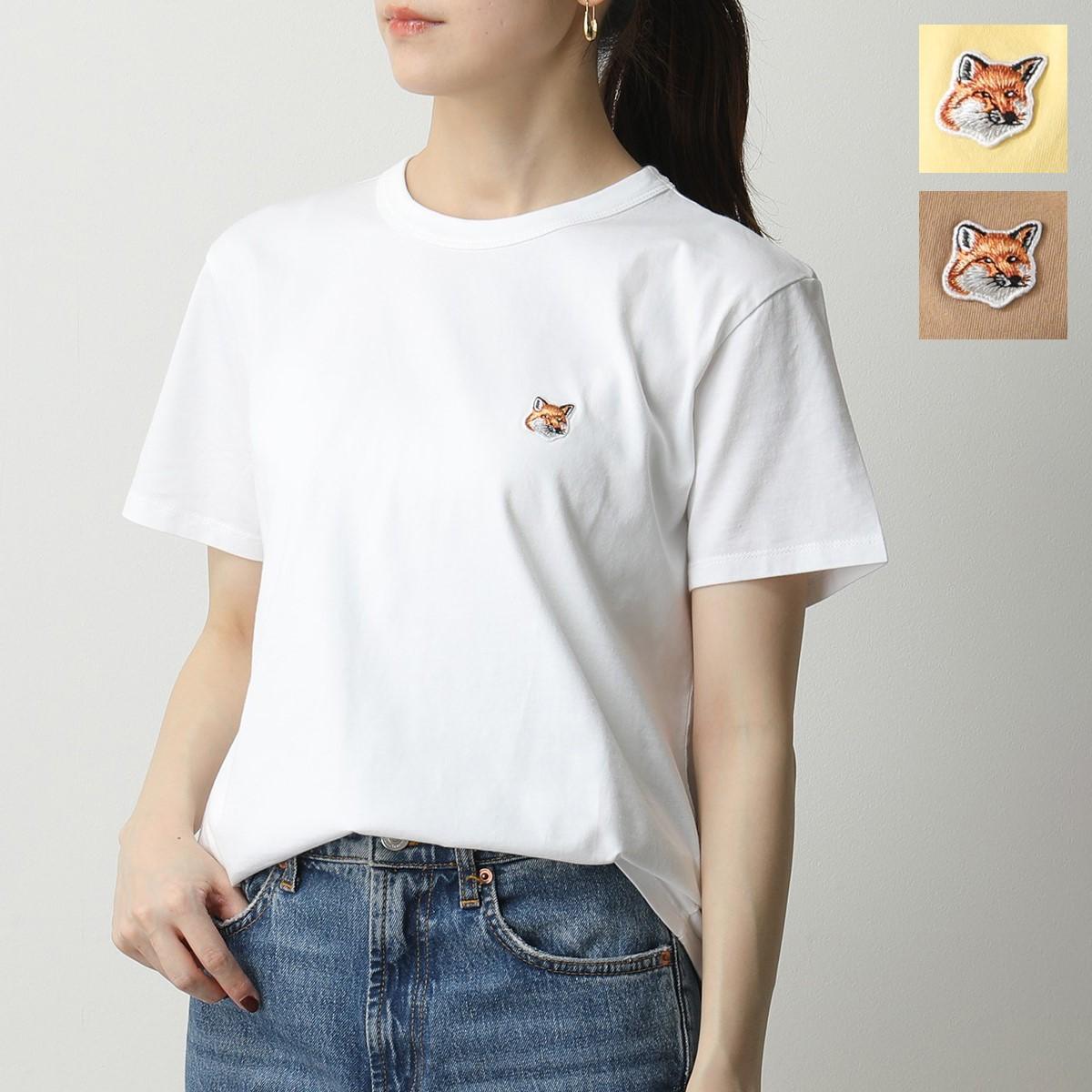 MAISON KITSUNE メゾンキツネ AW00103AT1502 TEE-SHIRT FOX HEAD PATCH クルーネック Tシャツ WHITE/ホワイト レディース