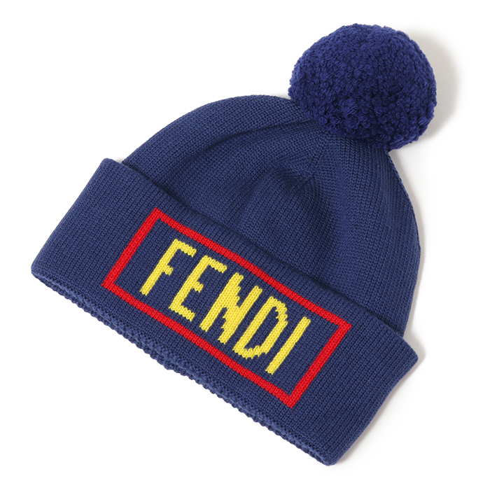 FENDI フェンディ FXQ056 A40F ボンボン付き ウールニットキャプ F0QA2